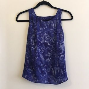 Blue-purple satin flowery tank - Urban Outfitters
